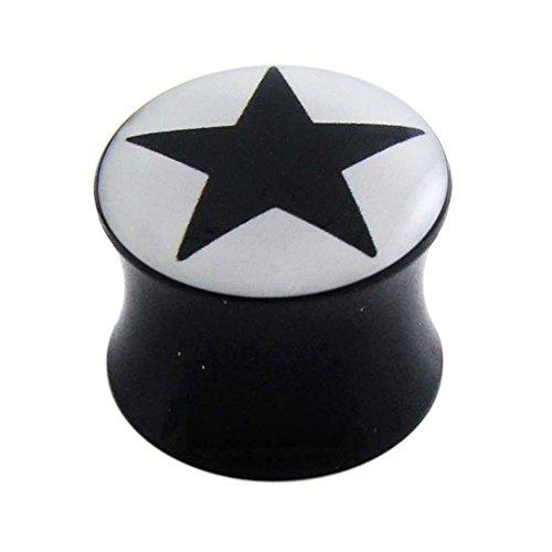 Monster piercing zwarte sterren logo zwart acryl dubbel uitgegeven gauge oorsteker