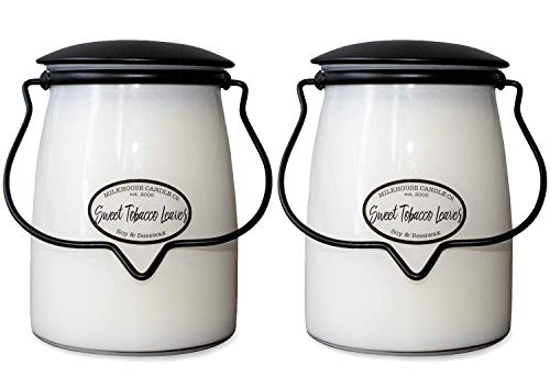 Milkhouse Candle Company Sweet Tobacco Leaves 2-Pack Butter Jar Candles   22oz Glass Jar Scented Candles for The Home   Farmhouse Home Decor   Soy Candles USA
