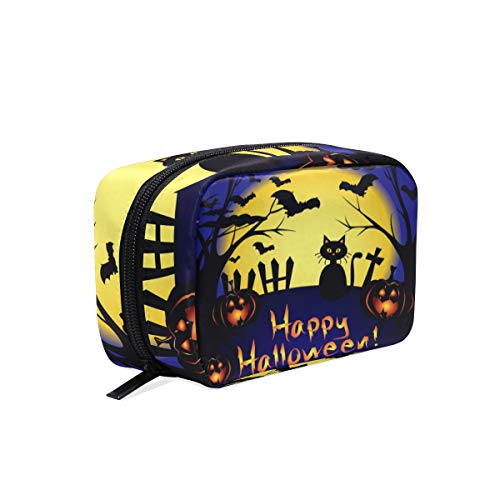 Mnsruu Pochette de maquillage portable pour Halloween Motif chat pleine lune