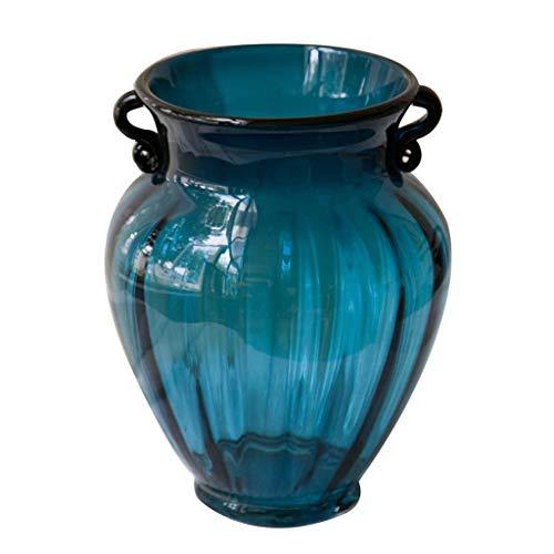 ZXL Glazen vaas, 21 cm hoog vat, creatieve vaas voor hydrocultuur planten met droge bloemen, ideale decoratie voor kantoor en bruiloft receptie thuis, blauw dubbel oor