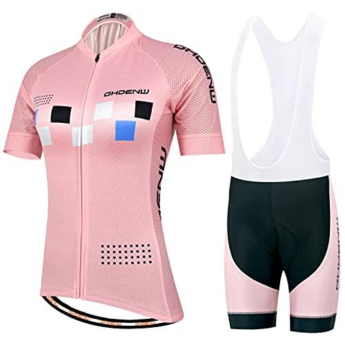 GHDENW Trajes Ciclismo para Mujer, Camiseta Bicicleta Manga Corta De Verano y Pantalones Cortos Acolchados De Gel para El Verano