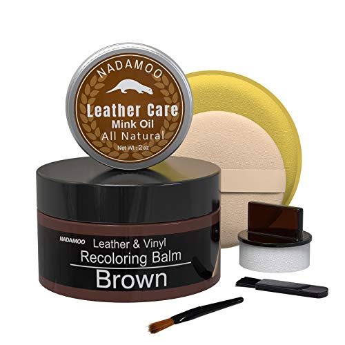 NADAMOO Brown Leather Recoloring Balm with Mink Oil Leather Conditioner, Leather Repair Kits for...