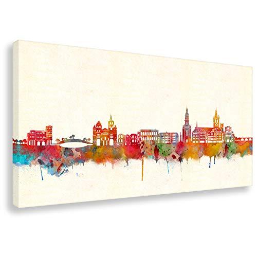 Kunstbruder Trier Skyline (div. Grš§en) - Kunst Druck auf Leinwand 60x120cm