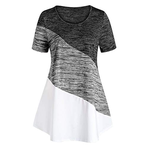 Review Of Toimothcn Women Plus Size Tunic Tops Short Sleeve O-Neck Striped Printed Colorblock Tee Shirts(Gray,X-Large)