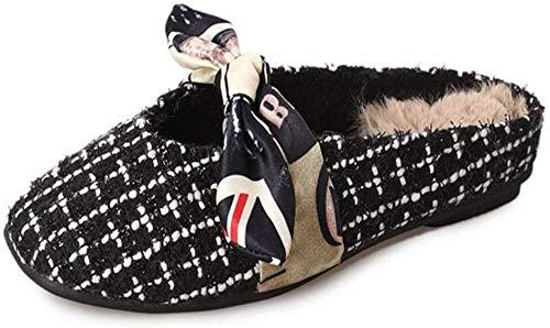 GJJSZ Zapatillas de casa Casuales, Zapatillas de Mujer Otoño e Invierno Paño de Proa Cabeza de Pan Parte Inferior Plana Grande S