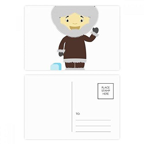 DIYthinker Kalte Jacke Grönland Cartoon Postkartenset Geburtstag dankt Karte Mailing Side 20pcs 5.7 Zoll x 3.8 Zoll Mehrfarbig