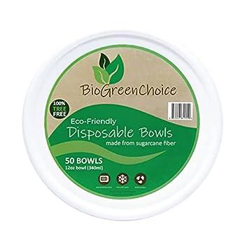 BioGreenChoice Eco-Friendly 12 oz Paper Bowls [50 Count] Biodegradable Bagasse/Natural Sugarcane Disposable Soup Bowl ,Heavy-Duty White paper bowls for Chili & Soup – Microwave safe