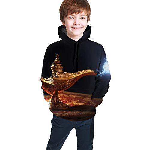 Camiseta suéter para niñas y niños Lámpara mágica de la Historia de Aladdin con aparición de Genio, Sudadera con Capucha XL