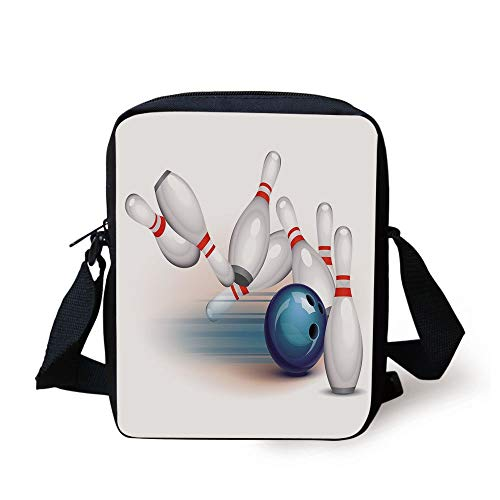 Bowling Party Decorations,Thrown Ball Scattered Pins Speed Hit Target Shot Score Decorative,White Light Blue Red Print Kids Crossbody Messenger Bag Purse