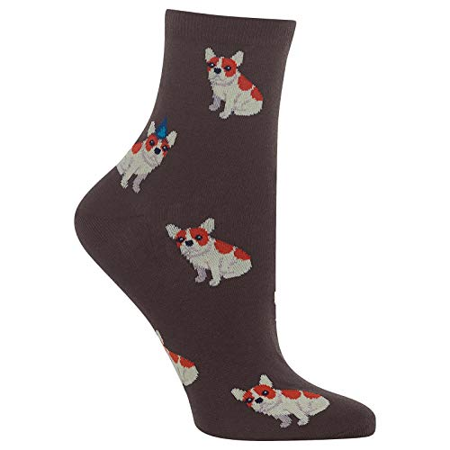 HOTSOX Womens Birthday Frenchie Socks 1 Pair, Brown, Shoe Size: 9-11