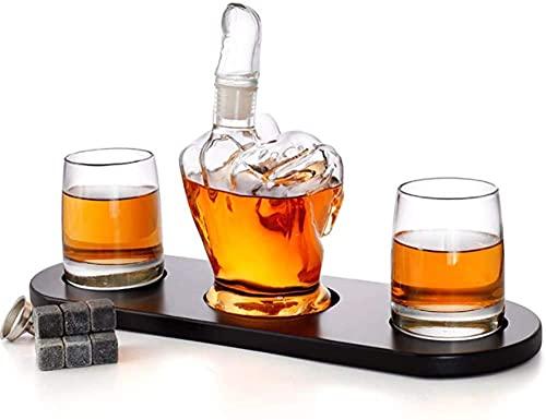 JYDNBGLS Conjunto de decantador de vidro com 2 peças de óculos estilo dedo médio soprado à mão, vidro soprado, decantador, conjunto de decantador de uísque, para brandy de vidro feito Tequila Bourbon Scotch Rum decantadores de licor