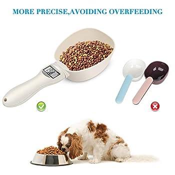 Komake Cuillère de mesure numérique pour la nourriture des animaux - Cuillère de mesure amovible avec affichage LED - Alimentation par pile bouton - Mesure liquide et sec
