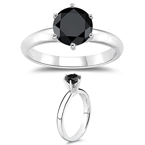 1.00 Ct A Round Black Diamond Engagement Ring in Silver