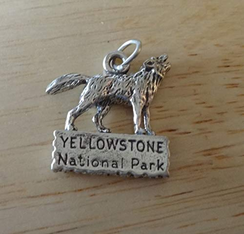 Sterling Silver 25x20mm Wolf Standing Sign says Yellowstone National Park Charm