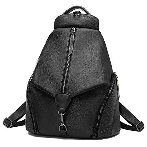 Leather Backpack for Women, JOSEKO Fashion Ladies Purse Anti Theft Bag Casual Travel Rucksack Shopping Daypack Black