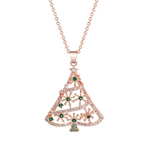 JDXN Christmas Tree Pendant Necklace Santa Claus Snowman CZ Crystal for Women Girls Gifts Jewelry (Rose Golden Christmas Tree Style 2)