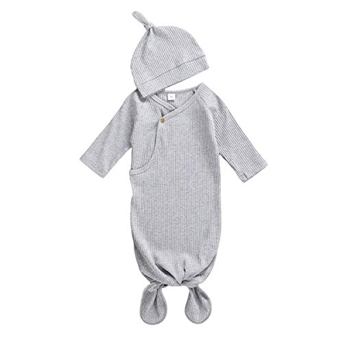 KMBANGI Newborn Baby Girl Boy Knit Cotton Knotted Nightgown Soft Sleeper Gown with Hat Set for Unisex Baby (Gray, 0-3 Months)