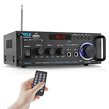 Pyle Wireless Bluetooth Stereo Power Amplifier - 200W Dual Channel Sound Audio Stereo Receiver w/RCA USB SD MIC in FM Radio for Home Computer via RCA - PDA29BU.5