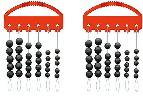 STMK 2 Packungen Soft-Perlen-Set rund schwarz 3 Größen, 5mm, 6mm & 7mm, gesammt 60 Perlen Gummiperlen Sortiert Rubber Beads + gratis Petri Heil! Aufkleber