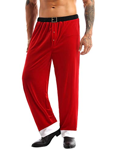 ACSUSS Men's Christmas Santa Claus Costume Red Velvet Lounge Cosplay Long Pant Red M