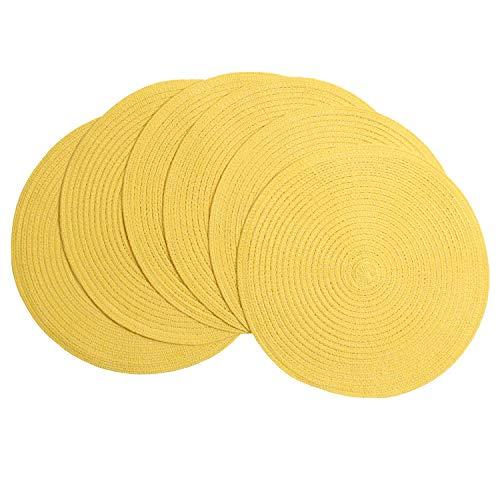 SHACOS Juego de 6 salvamanteles Individuales Redondos de Algodón manteles Individuales Amarillo Trenzado Round-shapped 38cm