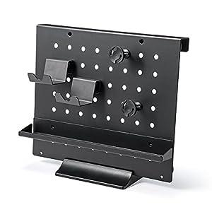 サンワダイレクト 有孔ボード 卓上 収納 スタンド/フック/トレー付き スチール製 ピッチ30mm ブラック 100-MRSH008BK