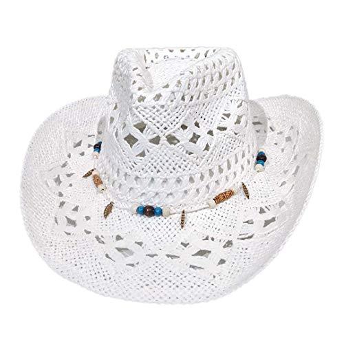 Carnavalife, Sombrero de Papel Natural de Cowboy Vaquero, con Banda de Tela, Unisex Talla Única Hombre Mujer para Verano. Color Blanco.