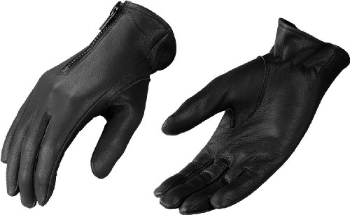 Shaf - Guantes de piel para motocicleta, S, Negro