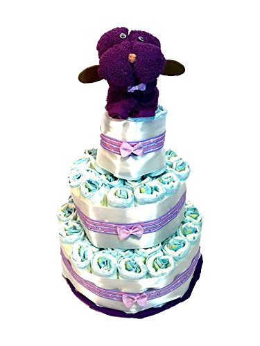 Windel-Torte Dodot Hündchen Handtuch violett
