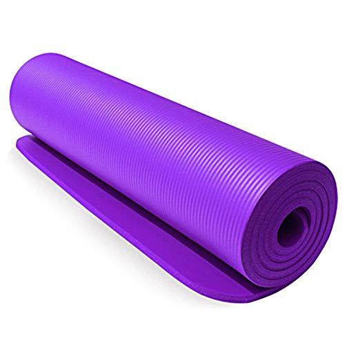 OPIUYS Esterillas de yoga, NBR de 10 mm, color morado, extra grueso, antideslizante, esterilla de baile deportiva, almohadilla de fitness sin sabor, alfombrilla de ejercicio familiar