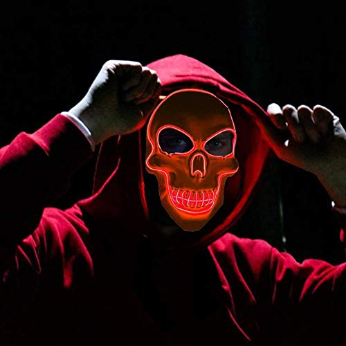 LED Halloween masker decoratie Skeleton Eng Gezicht Maskers Luminous Light Up lampen Cosplay Kostuum 4 Modes lsmaa (Color : Red+White)