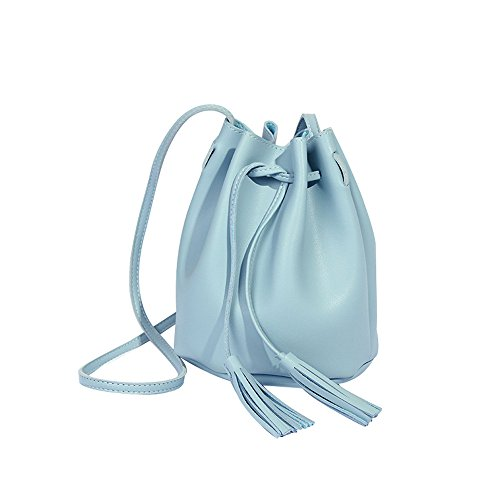 Alikeey Damesmodieuze kwasten met hoge capaciteit emmer tas schoudertas blauw