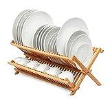 Escurreplatos Plegable Cocina para Platos y Vasos Bambú Estante Plegable para...