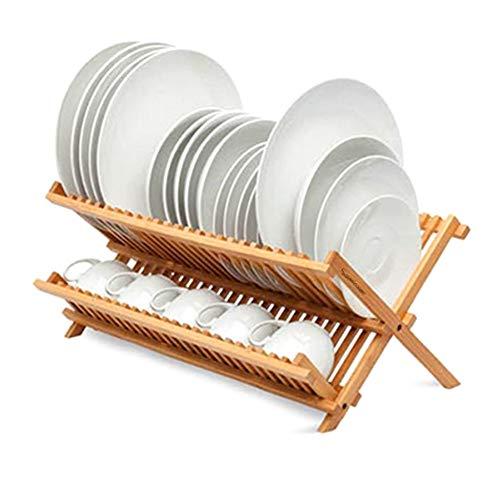 Escurreplatos Plegable Cocina para Platos y Vasos Bambú Estante Plegable para secar Platos, Cocina de bambú (Escurreplatos)