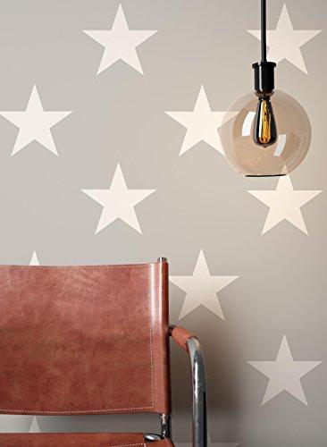 NEWROOM Tapete Grau Sterne Muster Modern Papiertapete Creme Papier moderne Design Optik Mustertapete Kinder inkl. Tapezier Ratgeber