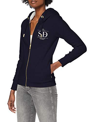 Superdry Womens Established Zip Hood Cardigan Sweater, Nautical Navy, S (Herstellergröße:10)