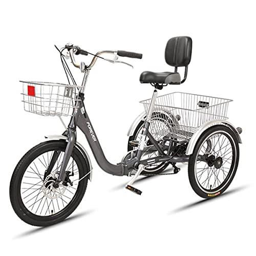 OHHG Triciclo Plegable 3 Ruedas Adultos, Triciclo 7 velocidades, Bicicleta Crucero Cesta...