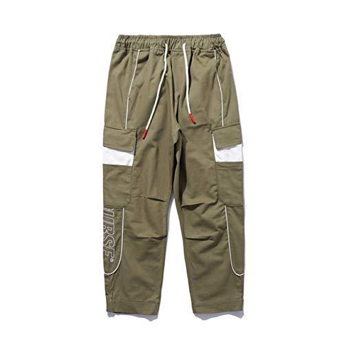 Loeay Pantalones Cargo para Hombre Moda Hip Hop de Verano Ropa Deportiva Jogger Línea de Bolsillo Cordón Cintura elástica Pantalones Casuales Streetwear