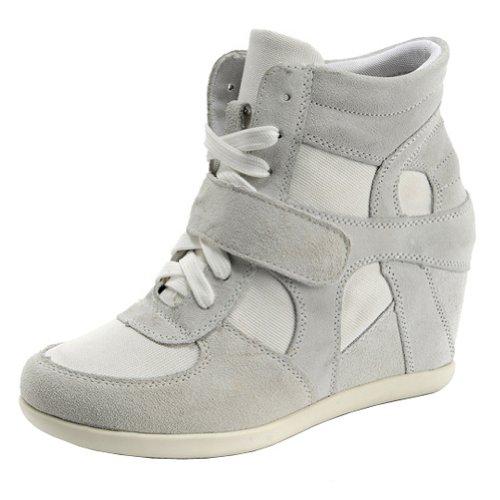 rismart Mujer Tacón De Cuña Velcro Brogue Casual Ante Zapatillas Zapatos 8522(Gris,EU39)