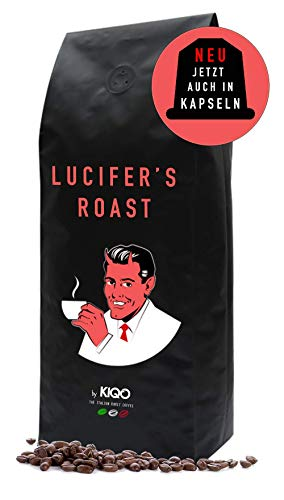 LUCIFER'S ROAST Espresso by KIQO aus Italien - 1kg - extrem starke Kaffeebohnen - säurearm - 100% Robusta - Manufakturröstung in Kleinstchargen (1000g - ganze Bohnen)