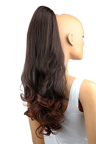 PRETTYSHOP 60cm Haarteil Zopf Pferdeschwanz Haarverlängerung Voluminös Gewellt Braun Mix H46