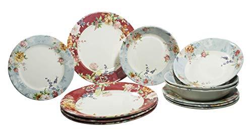 Tudor 12-Piece Premium Quality Porcelain Dinnerware Set, Service for 4 - CRIMSON, See More Designs Inside!