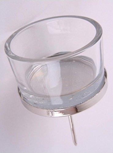 Shophaus24 4 Teelichthalter aus Glas und Metall zum stecken für alle Kränze. 4 Stück
