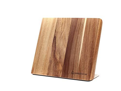 Hanseküche Messerhalter magnetisch – Magnetischer Messerblock aus Akazienholz, hochwertiges Messerbrett mit Magnet, Magnet-Messerhalter ohne Messer