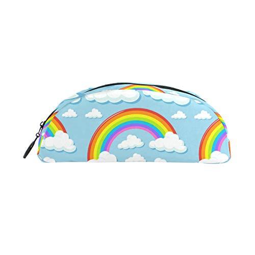 Estuche escolar con diseño de nubes de dibujos animados y arcoíris, estuche para lápices para niños, bolsa de gran capacidad para maquillaje, cosméticos, oficina, bolsa de viaje