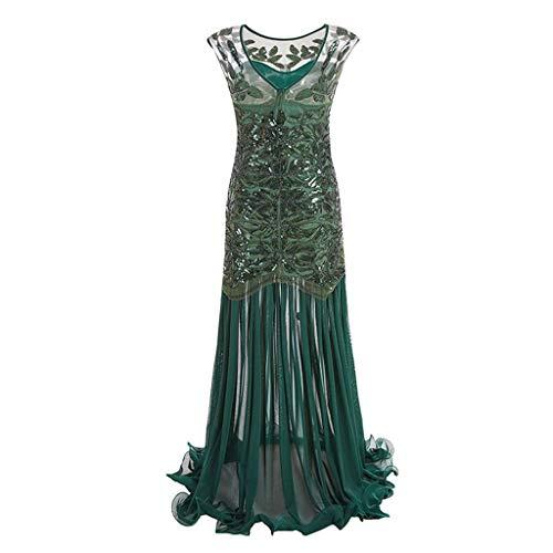iYmitz Frauen Jahrgang 1920er Pailletten Spitze Partykleider Flapper Cocktail Abendkleid Strickkleid