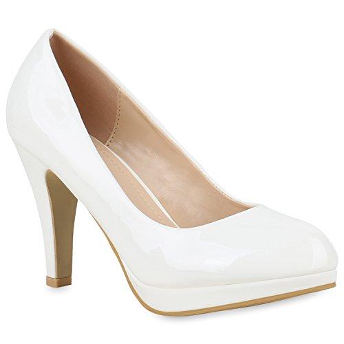 Klassische Damen Pumps Stiletto High Heels Lack Leder-Optik Schuhe 154357 Weiss 39 Flandell