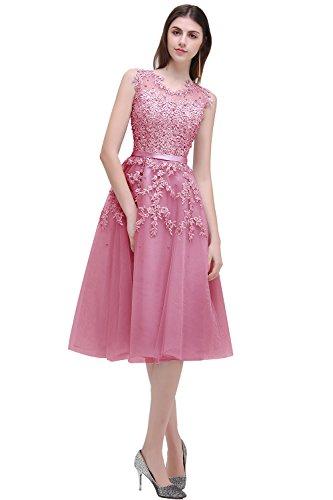 MisShow Festkleid Elegante Kleid für Jahrestreffen V-Ausschnitt Pinup Kleid Teilgefüttert Cocktailkleid Rosa GR. 44