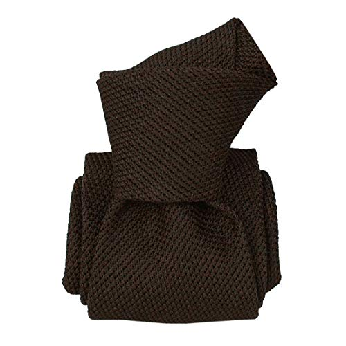 Segni et Disegni. Cravate grenadine de soie. Premium, Soie. Brun, Uni. Fabriqué en Italie.
