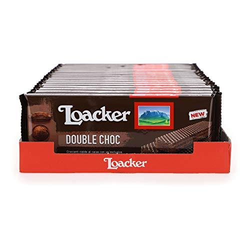 Loacker - Classic Double Choc - Wafer Classico con 3 Strati di Cialde al Cacao Farcite con Crema al Cacao e Cioccolato - Merenda e Snack - Formato Famiglia con 18 Confezioni da 33 Wafer